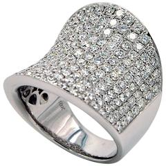 Wide Concave Diamond Ring, Pave Set