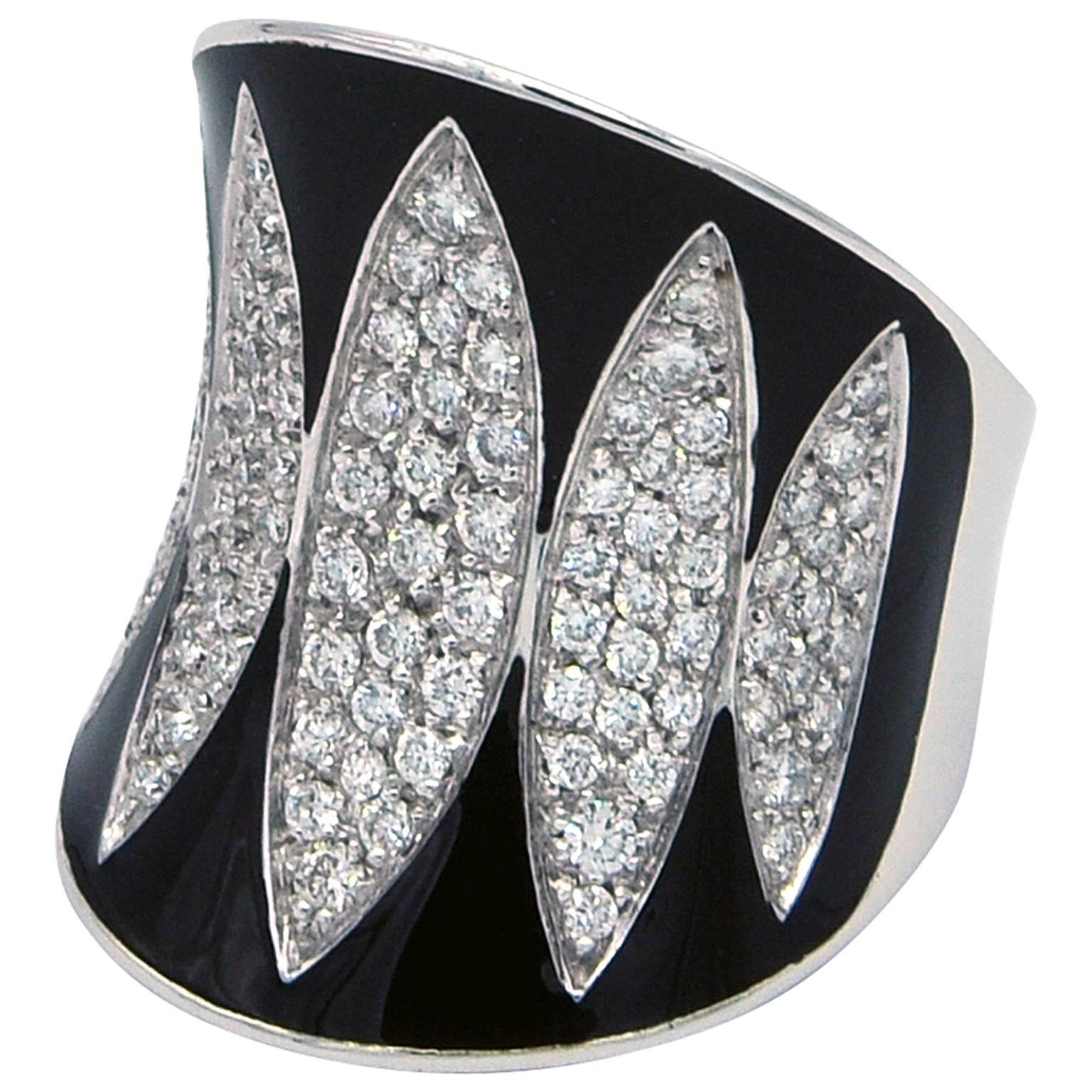 Enamel and Diamonds White Gold Ring