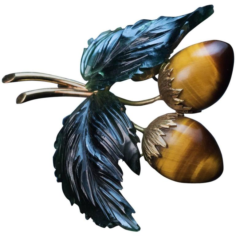 Tigers Eye Nephrite Jade Gold Berry Brooch