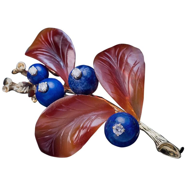 Carved Agate Lapis Diamond Gold Berry Brooch