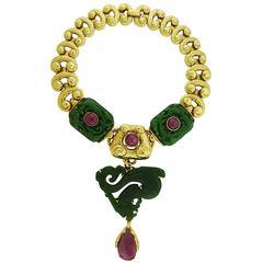 David Webb Jadeite Ruby Gold Necklace Brooch Combination
