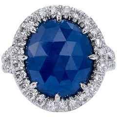 5.59 Carat No Heat Blue Sapphire and Diamond 18 Karat Gold Ring
