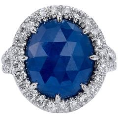 5.59 Carat No Heat Blue Sapphire Diamond Gold Ring