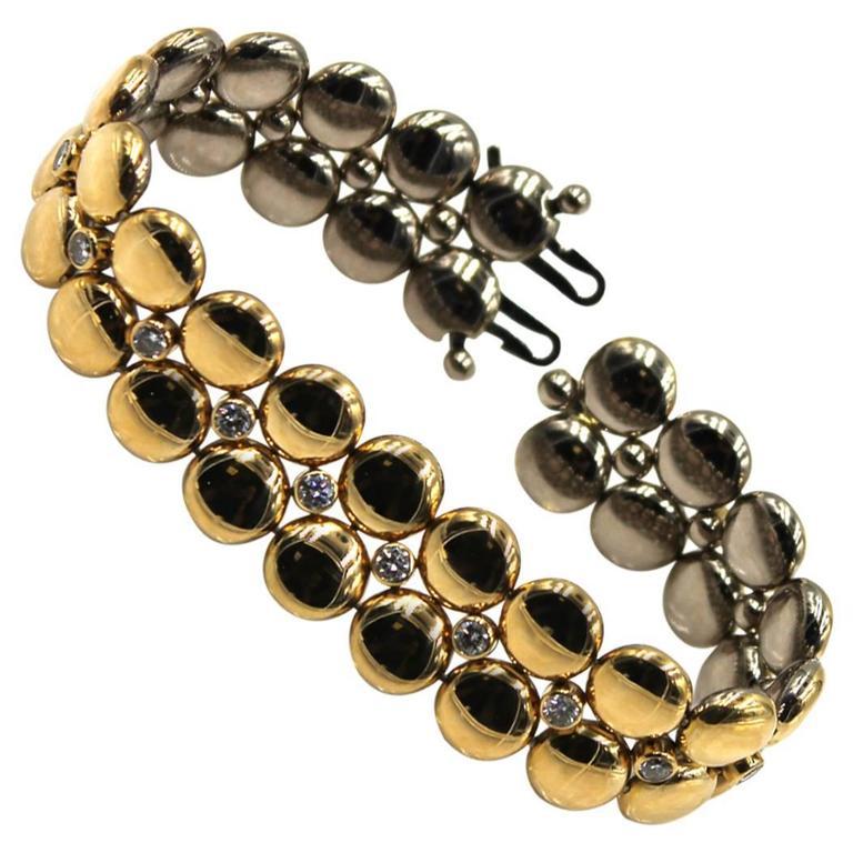 Cartier Reversible Diamond Two Color Gold Link Bracelet