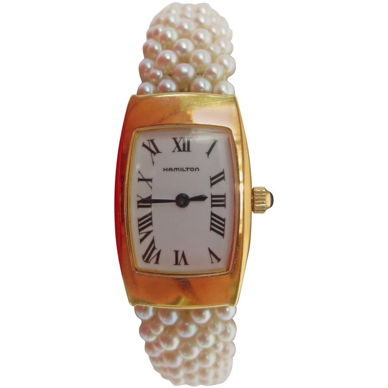 Hamilton Ladies Yellow Gold Woven Multi Strand Pearl Band Wristwatch,by Marina J For Sale