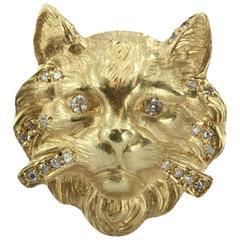 Lovely Diamond Gold Cat Face Ring