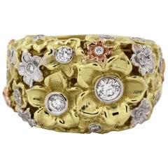 Stambolian Diamond Three-Color Gold Flower Ring