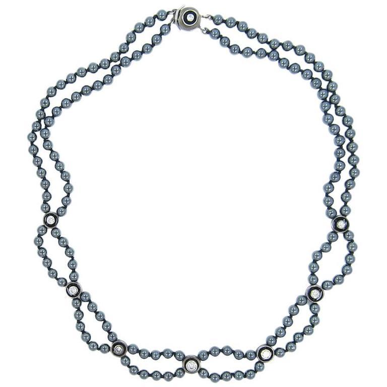 Hematite Bead and Diamond Necklace