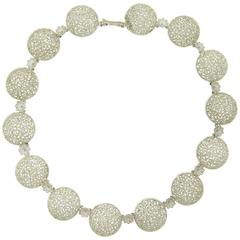 Buccellati Filidoro Silver Openwork Floral Circle Station Necklace
