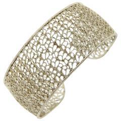Buccellati Filidoro Silver Openwork Wide Cuff Bracelet