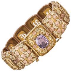 Late 18th Century Amethyst Two Colour Gold Souvenir Bracelet