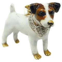 Enamel Diamond Gold Terrier Pendant