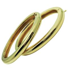 Pair of Classic Yellow Gold Hinged Bangle Bracelets