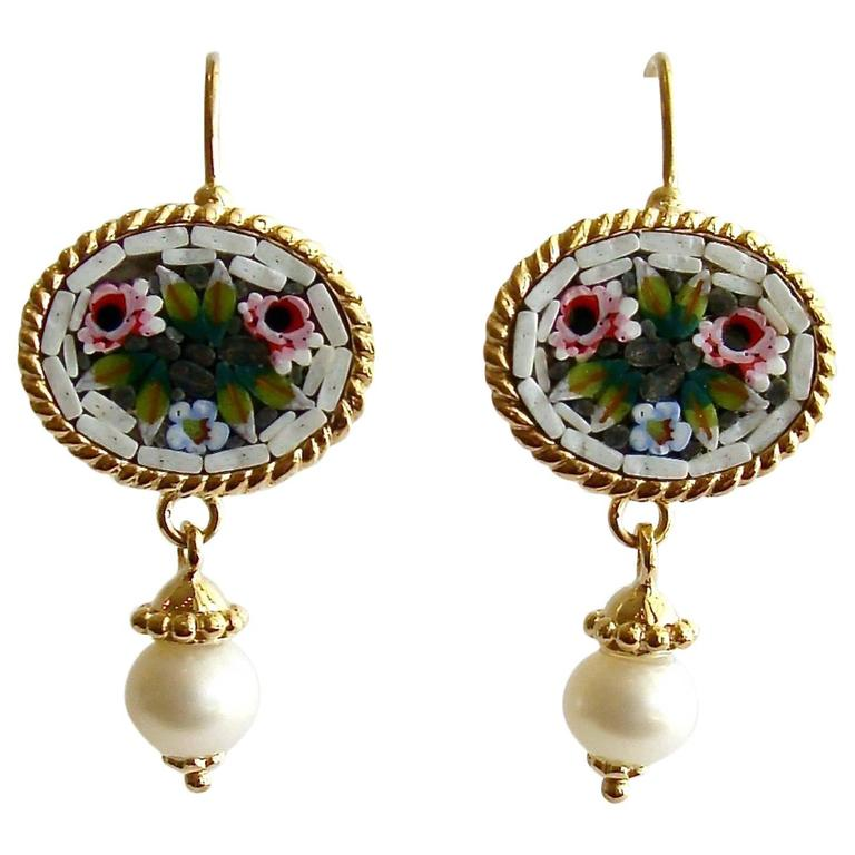 Floral Micro Mosaic Luciana Earrings  For Sale