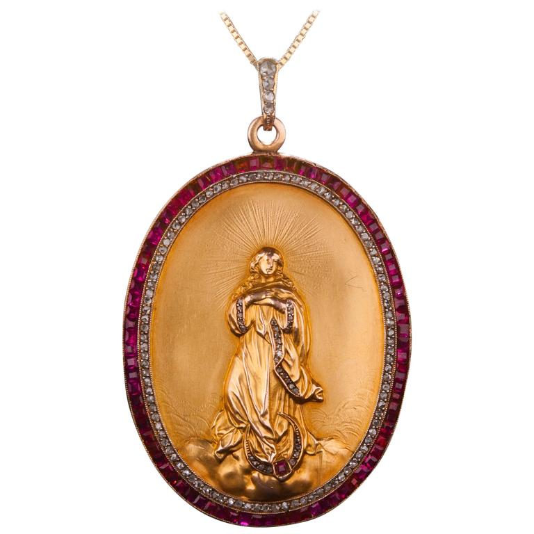 Ruby Diamond And 24k Gold Flash Madonna Pendant At 1stdibs