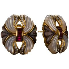 1950s Carved Mother-of-Pearl, Ruby and Diamond Earrings