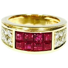 Cartier Invisibly Set Ruby Diamond Gold Band Ring