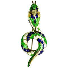 1950s Enamel Diamond Gold Coiled Snake Pin