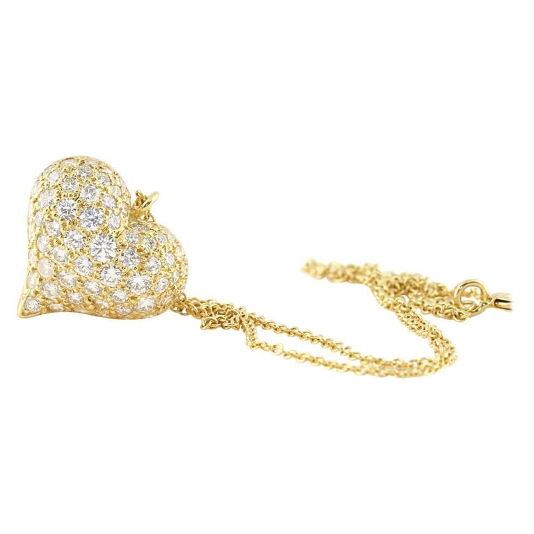 Tiffany & Co. 1.80 Carat Diamonds Gold Heart Necklace 1