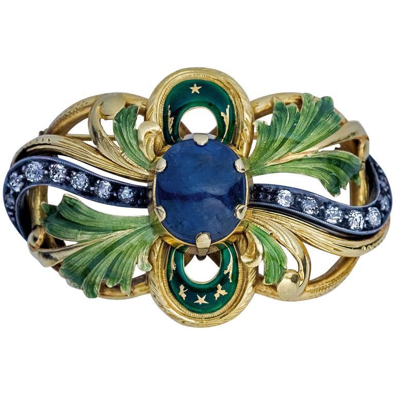 Art Nouveau Sapphire Diamond Enamel Gold Brooch