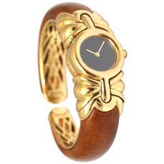 Bulgari Ladies Yellow Gold Wood Antalya Wristwatch Ref BJ03 C509