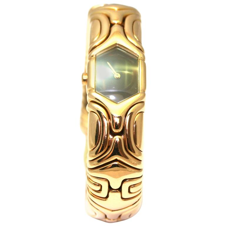 Bulgari Ladies Yellow Gold Black Bezel Parentesi Wristwatch Ref BJ02 G0024