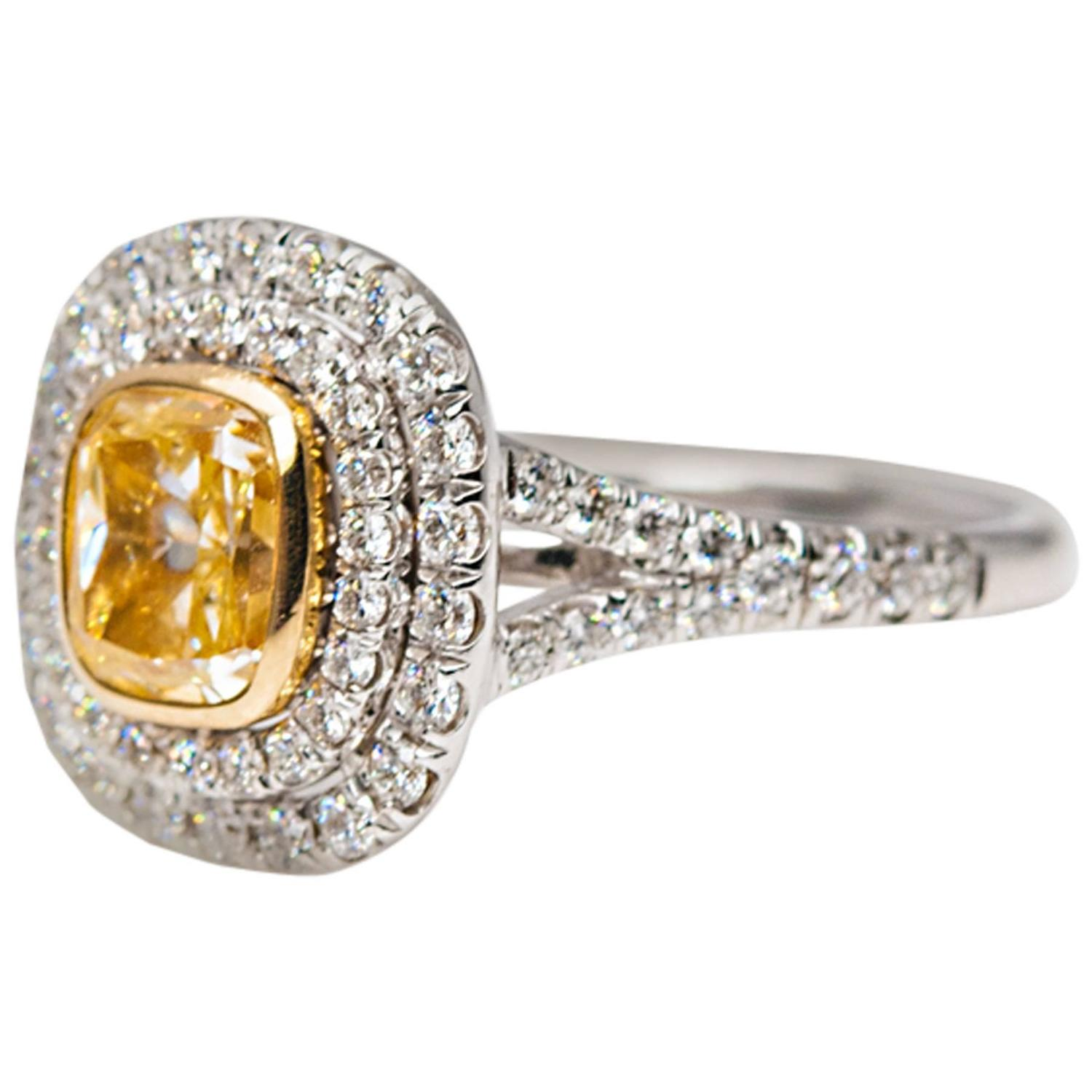 Fancy Yellow Diamond Two Color Gold Engagement Ring For Sale at 1stdibs