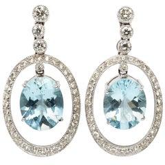 Aquamarine Diamond White Gold Dangle Stud Earrings