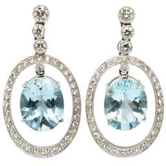 Fine Aquamarine Diamond White Gold Dangle Stud Earrings