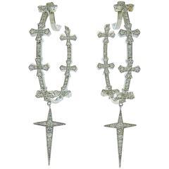 Round Diamond 18K White Gold Hoop Earrings with Crosses