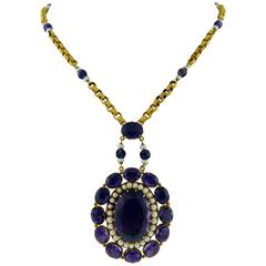 18K Yellow Gold Victorian revival Amethyst Pearl Necklace