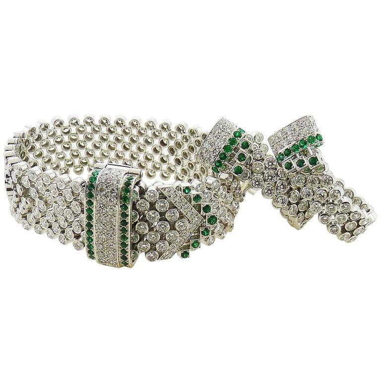 Boucheron Emerald & Round Diamond 18K White Gold Earrings and Bracelet Set