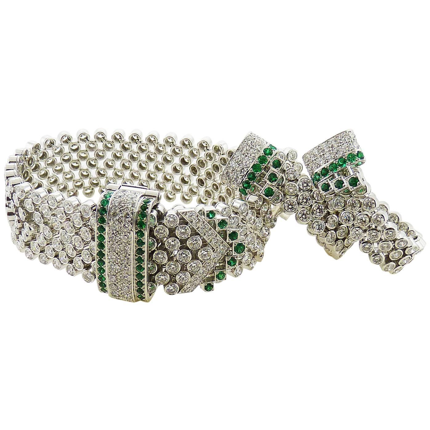 Boucheron Emerald & Round Diamond 18K White Gold Earrings & Bracelet Set
