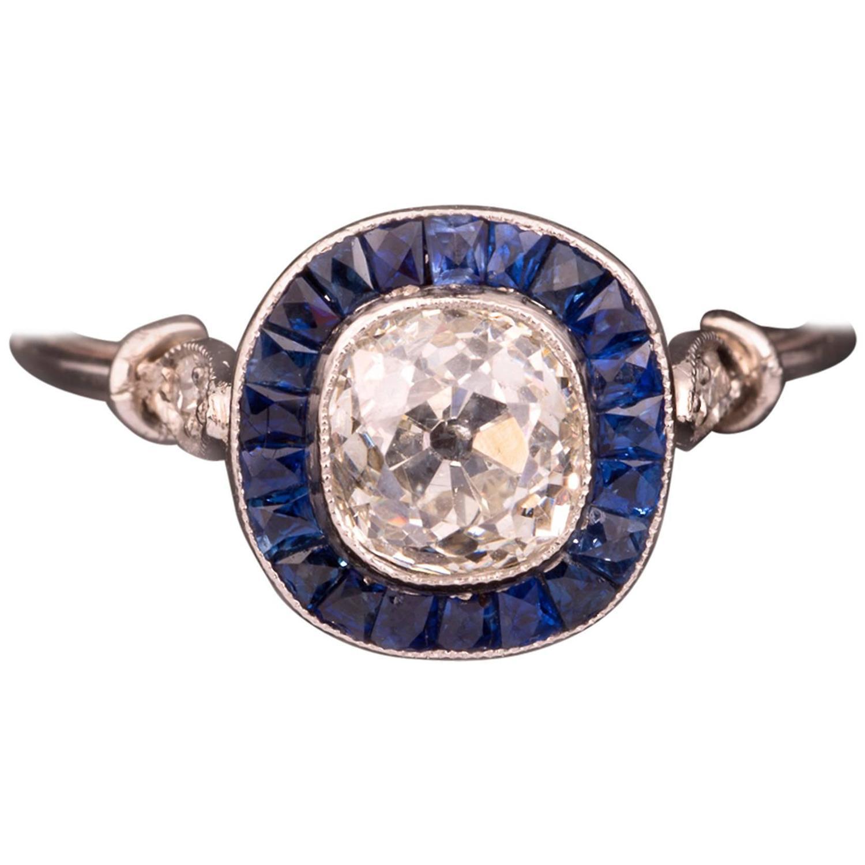 1940s sapphire platinum engagement ring at 1stdibs
