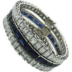 Sapphire and Emerald-Cut Diamond Platinum Three Detachable Line Bracelets