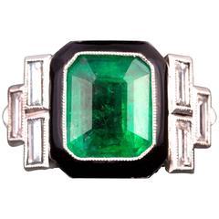 Art Deco Colombian Emerald Diamond Platinum Ring