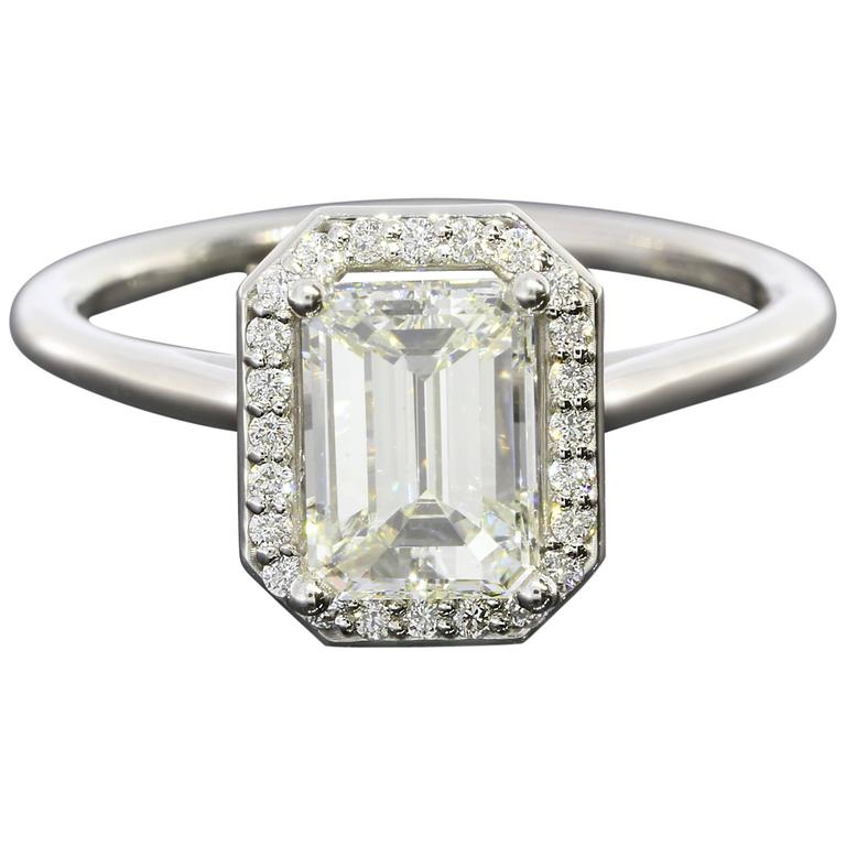1 51 Carat GIA Cert Emerald Cut Diamond Gold Halo Engagement Ring at 1stdibs