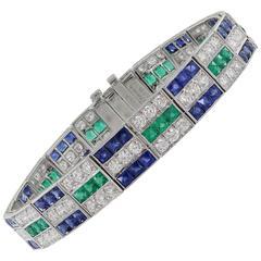 Diamond Emerald Sapphire  Bracelet