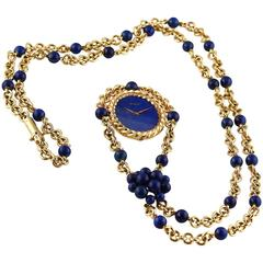 Piaget Lady's Yellow Gold Lapis Lazuli Necklace Watch