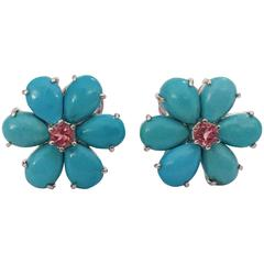 Rubelite Turquoise Gold Flower Earrings