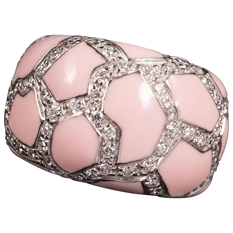 Roberto Coin Pink Enamel Pavé Diamond Gold Ring For Sale