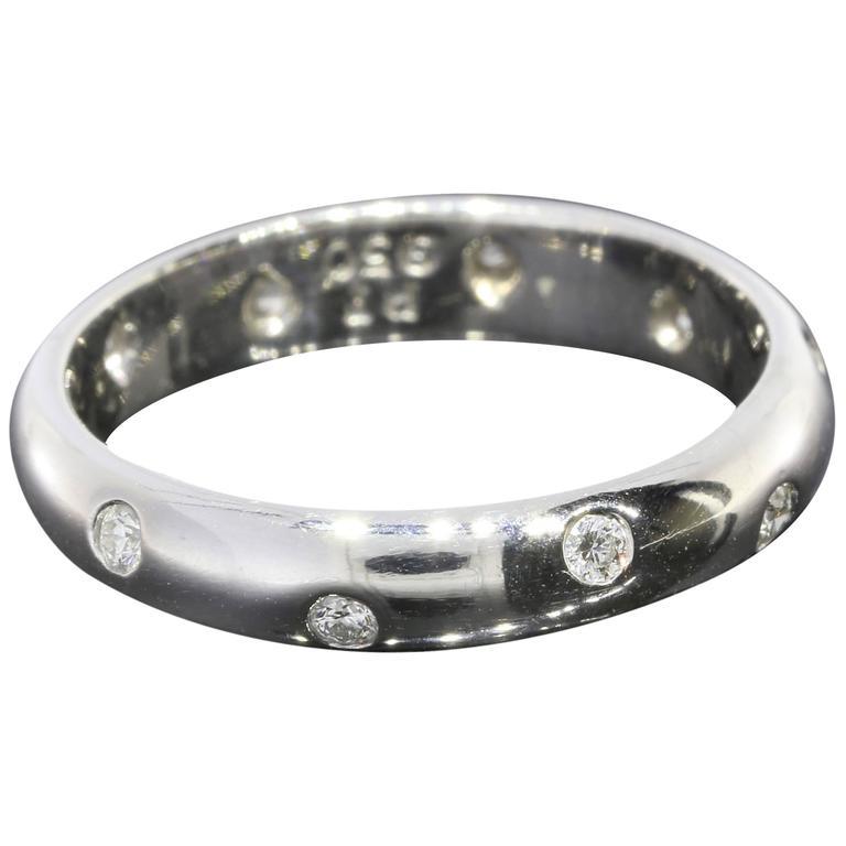 f4394cbf3 Tiffany & Co. Diamond Platinum Flush Set Etoile Wedding Band Ring For Sale
