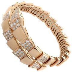 Bulgari Serpenti Semi-Pave Diamond Gold Bracelet