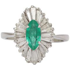 Stunning Emerald Marquise Diamond Gold Ballerina Ring