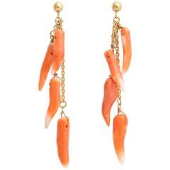Natural Coral and Gold Dangle Earrings