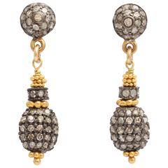 Elegant Diamond Silver Gold Dangle Earrings