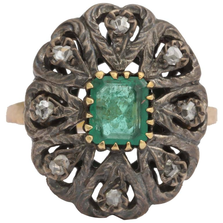Stunning Emerald Silver Gold Ring