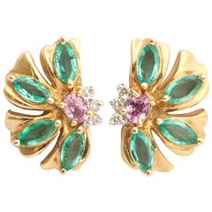 Lovely Emerald and Pink Sapphire Floral Earrings