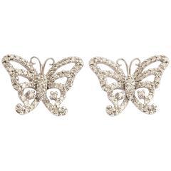 Delicate Diamond Gold Butterfly Earring Studs