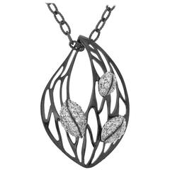 Hand Made Diamond Gold Leaves Pendant